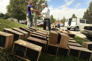 NRVBA member Clem Von Claparede hands out honey bee packages in April 2012. Photo courtesy of Matt Gentry.